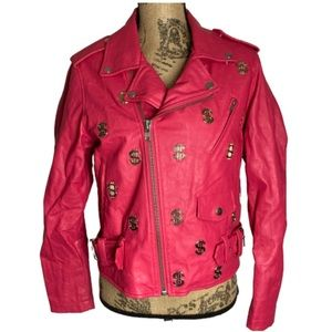 Joyrich Hot Pink gold $$ sign leather Moto jacket